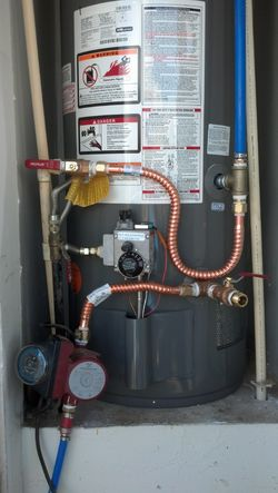 New Gas Water Heater with pressure tank & recirculating pump